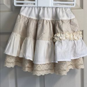 Persnickety Girls 5 Skirt White Ecru Tiered
